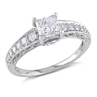 Miadora Signature Collection 14k White Gold Created White Sapphire Pink Sapphire and 1/4ct TDW Diamond Ring (G-H, I1-I2)