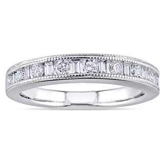 Miadora 14k White Gold 3/8ct TDW Round and Baguette Diamonds Anniversary Ring