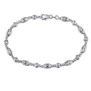 Miadora Signature Collection 18k White Gold Fancy Diamond-cut Ball Bead Bracelet