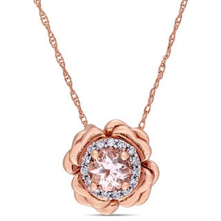 Miadora 10k Rose Gold Morganite and Diamond Accent Halo Flower Necklace