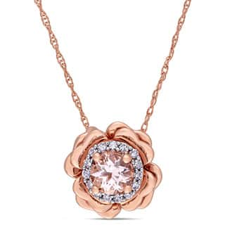 Miadora 10k Rose Gold Morganite and Diamond Accent Halo Flower Necklace|https://ak1.ostkcdn.com/images/products/14191740/P20788188.jpg?impolicy=medium