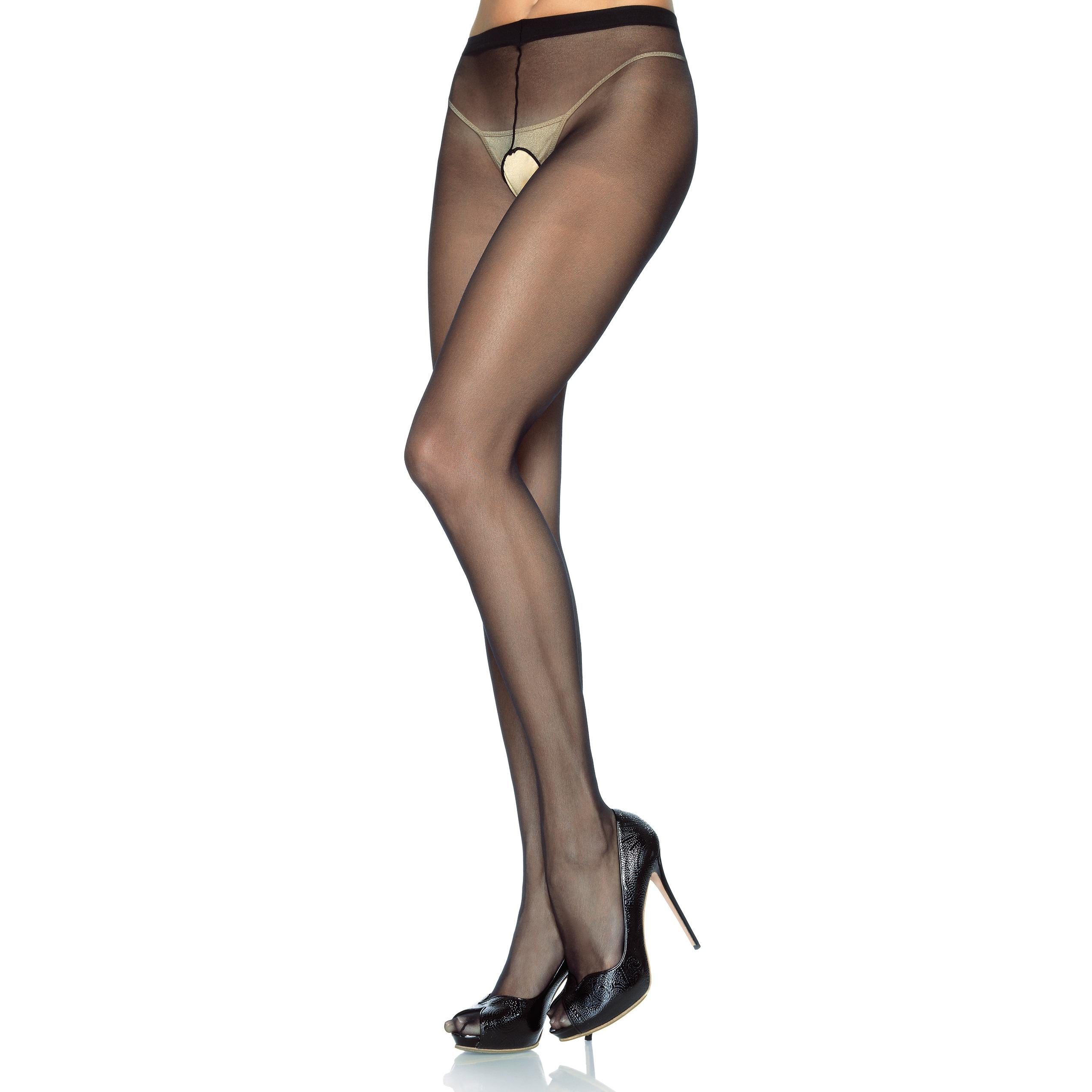 Leg Avenue Sheer Black Nylon Plus Size Sexy Open Pantyhos...