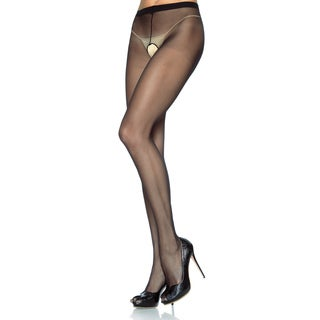 Leg Avenue Sheer Black Nylon Plus Size Sexy Open Pantyhose