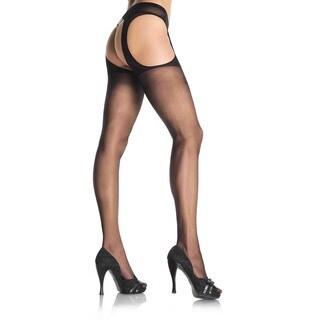Leg Avenue Plus Size Sheer Suspender Black Nylon Pantyhose