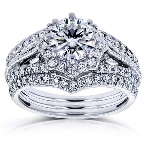 Annello by Kobelli 14k White Gold 1 5/8ct TGW Moissanite and Diamond Star Halo 3-Ring Bridal Set (H-I, I1-I2)