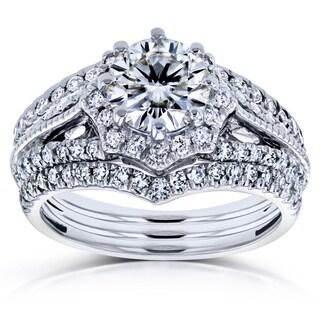 Annello by Kobelli 14k White Gold 1 5/8ct TCW Moissanite and Diamond Star Halo 3-Ring Bridal Set (H-I, I1-I2)