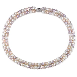 Catherine Catherine Malandrino Plum Peach and White Cultured Freshwater Pearl Double-Row Strand with Sterling Silver Elements