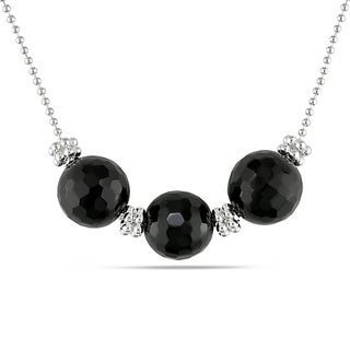 Catherine Catherine Malandrino Faceted Round Triple Onyx Bead and Silver Rondelle Necklace in Sterling Silver