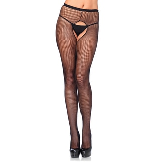 Leg Avenue Black Nylon -size Crotchless Fishnet Pantyhose