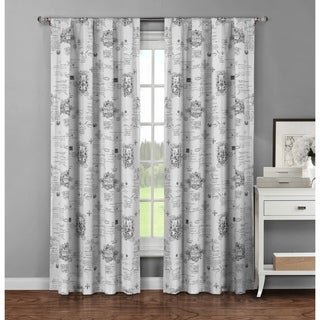Window Elements Fleur De Lis Grey Cotton 96-inch Rod Pocket Curtain Panel Pair