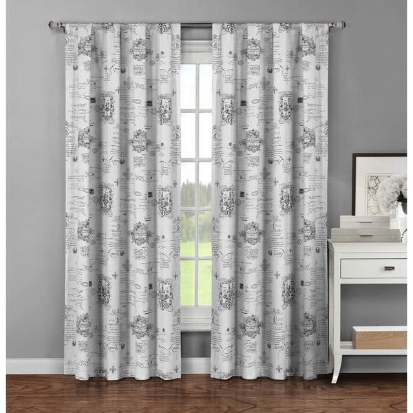 Window Elements Fleur De Lis Grey Cotton 96 Inch Extra Wide Rod Pocket  Curtain ...  Extra Wide Curtain Panels