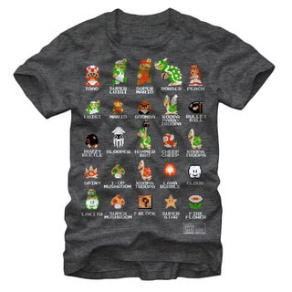 Nintendo Men's Grey Cotton Pixelated Super Mario Bro Cast T-shirt