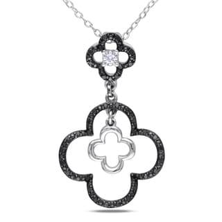 Catherine Catherine Malandrino 1/5ct TDW Black & White Diamond Clover Necklace in Sterling Silver W/ Black Rhodium (G-H,I2-I3)