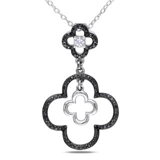 Catherine Catherine Malandrino 1/5ct TDW Black & White Diamond Clover Necklace in Sterling Silver W/ Black Rhodium (G-H,I2-I3)