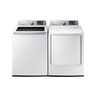 Samsung White 27-inch Top Load Washer and Gas Dryer