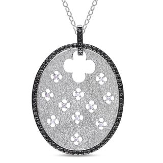 Catherine Catherine Malandrino 1/10ct TDW Diamond Quatrefoil Charm Necklace in Sterling Silver with Black Rhodium (G-H, I3)