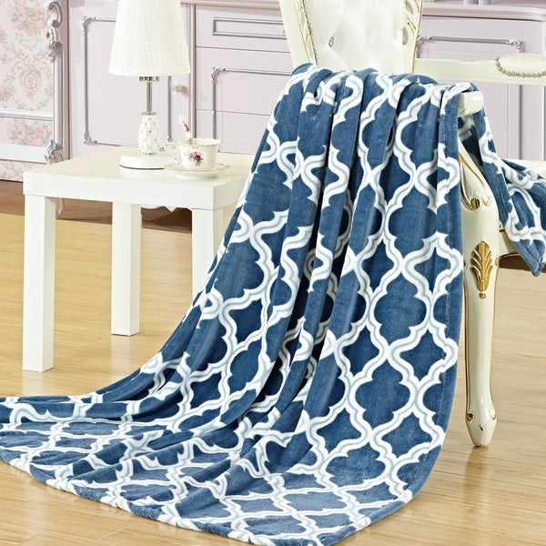 "Palace Linens Megan 50"" x 60"" Printed Plush Throw"