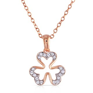 Catherine Catherine Malandrino 1/10ct TDW Diamond Studded Open Clover Necklace in Rose Plated Sterling Silver (G-H, I2-I3)