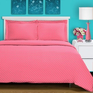 Superior 600 Thread Count Polka Dot Duvet Cover Set Full/ Queen Size in Pink (As Is Item)
