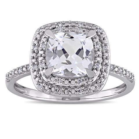 Miadora 10k White Gold Cushion-cut Created White Sapphire and 1/10ct TDW Diamond Double Square Halo Engagement Ring