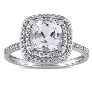 Miadora 10k White Gold Created White Sapphire and 1/10ct TDW Diamond Double Square Halo Engagement Ring (G-H, I1-I2)