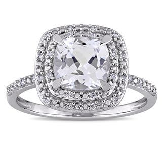 Miadora 10k White Gold Cushion-cut Created White Sapphire and 1/10ct TDW Diamond Double Square Halo|https://ak1.ostkcdn.com/images/products/14191849/P20788289.jpg?impolicy=medium