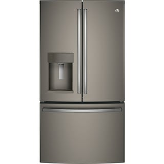 GE Energy Star 22.2 Cubic Foot Slate Grey Counter-depth French-door Refrigerator