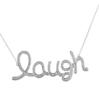 Catherine Catherine Malandrino 1/10ct TDW Diamond 'Laugh' Station Necklace in Sterling Silver