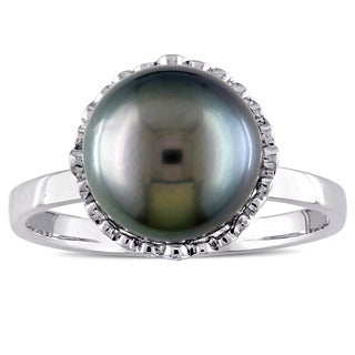 Miadora 14k White Gold Black Tahitian Pearl and 1/4ct TDW Diamond Halo Ring (9-9.5 mm) (G-H, I1-I2)