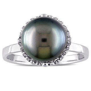 Miadora 14k White Gold Black Tahitian Pearl and 1/4ct TDW Diamond Halo Ring (9-9.5 mm) (G-H, I1-I2)