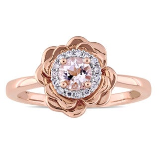Miadora 10k Rose Gold Morganite and 1/10ct TDW Diamond Halo Flower Ring (G-H, I2-I3)