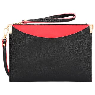 Mellow World Margie Small Black/Red Faux Leather Crossbody Clutch Handbag