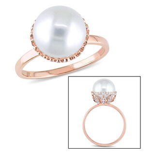 Miadora 14k Rose Gold White Cultured Freshwater Pearl and 1/4ct TDW Diamond Halo Ring (9.5-10 mm) (G