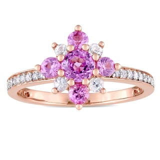 Miadora Signature Collection 14k Rose Gold 1/6ct TDW Diamond Pink Sapphire and White Sapphire Flower Cluster Ring (G-H, I1-I2)