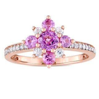 Miadora Signature Collection 14k Rose Gold 1/6ct TDW Diamond Pink Sapphire and White Sapphire Flower