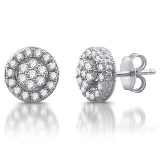 1/2 CTTW Diamond Composite Frame Stud Earrings in Sterling Silver (I/J- I2)