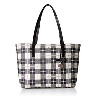Kate Spade New York Hawthorne Lane Light Shale Plaid Tote Bag