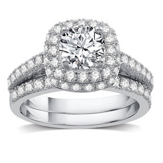 2 CTTW Diamond Double Frame Bridal Set in 14k White Gold (I/J- I1)