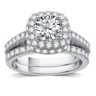2 CTTW Diamond Double Frame Bridal Set in 14k White Gold (More options available)