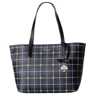 Kate Spade New York Hawthorne Lane Plaid Diver Blue Small Ryan Tote Bag
