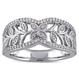 Miadora Signature Collection 10k White Gold 1/4ct TDW Diamond Filigree Ring