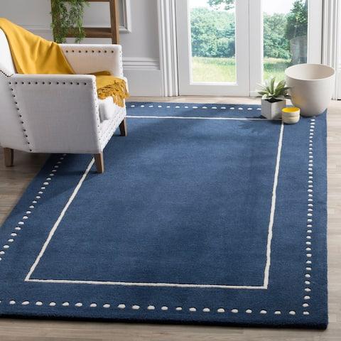 Safavieh Bella Contemporary Handmade Navy Blue / Ivory Wool Rug - 4' x 6'