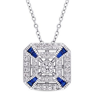Miadora Sterling Silver Created Blue Spinel and Cubic Zirconia Vintage Square Necklace