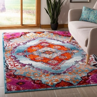Safavieh Cherokee Light Blue / Fuchsia Area Rug (4' x 6')