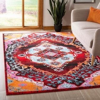 Safavieh Cherokee Light Blue / Red Area Rug (4' x 6')