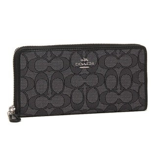 Coach Signature Smoke/Black Accordion Zip Around Wallet