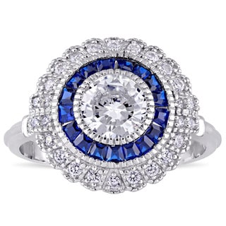 Miadora Sterling Silver Created Blue Spinel and Cubic Zirconia Vintage Halo Ring
