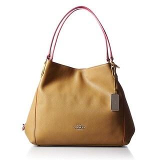 Coach Edgestain Leather Edie 31 Silver/Walnut Shoulder Handbag