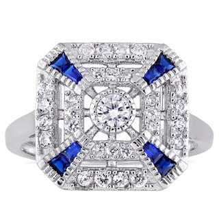 Miadora Sterling Silver Created Blue Spinel and Cubic Zirconia Vintage Square Ring