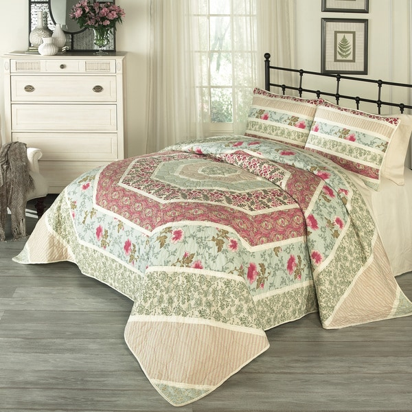Historic Charleston Maiden Lane Cotton 3 Piece Quilt Set